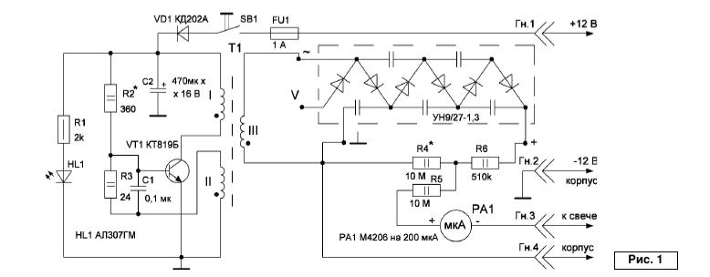 Схема стенда для проверки свечей зажигания